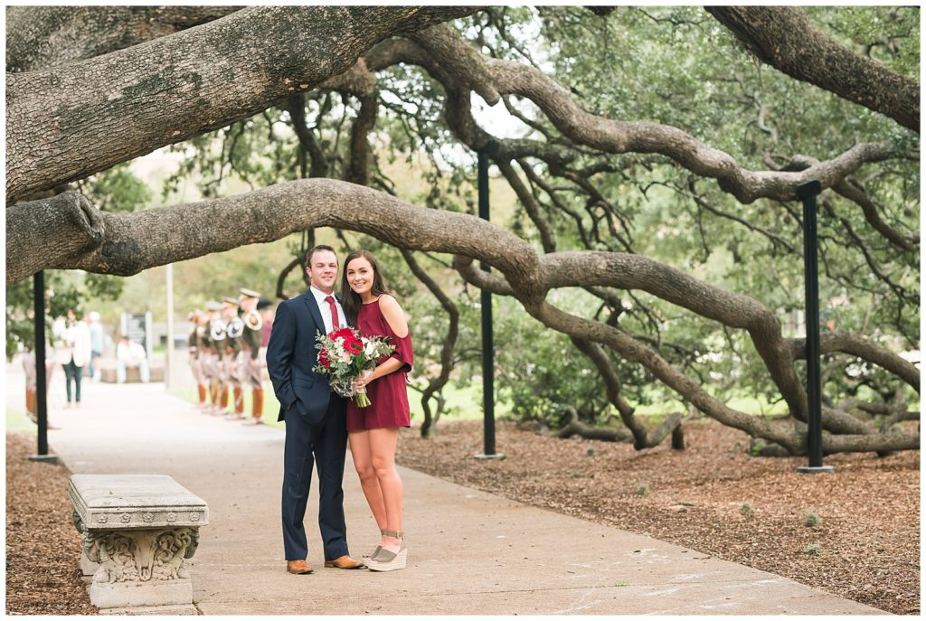 adam and bailey's surprise proposal under the century tree in college station tx, rachel driskell photography