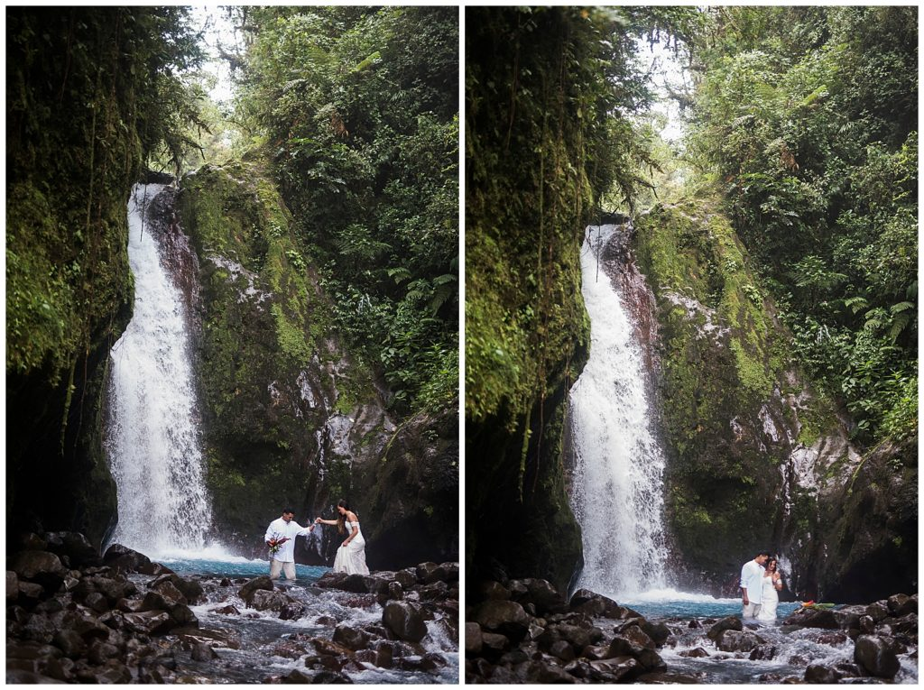 Juli & Sammy's Wedding Elopement to Costa Rica, Catarata Del Toro Blue Falls, Rachel Driskell Photography